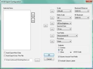 ASCII Export Configuration