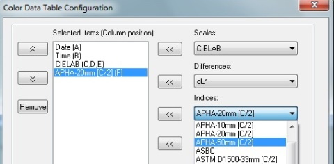 EZMQC Configuration of Color Data View for APHA Color for different cell path lengths