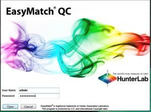 EasyMatch QC login screen.