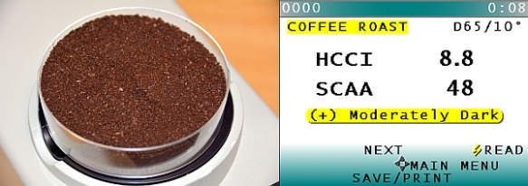 HunterLab ColorFlex Coffee with correlated SCAA# and SCAA Roast Classification display.